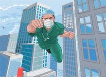 Free Doctor Nurse Scrubs Superhero Flying Super Hero Stock Image - 192525911