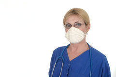 Doctor or Nurse in Surgical Mask 12. Headshot photo of nurse or doctor with stethoscope in surgical mask ready for surgery stock images