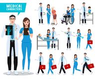 Doctor and nurse vector character set. Health care and medical workers with patients stock photography