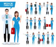 Doctor and nurse vector character set. Male and female medical and health care characters stock image