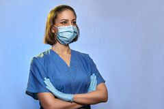 Doctor in medical uniform protective mask and gloves isolated. Coronavirus Epidemic COVID-19