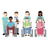 Doctor and nurse with wheelchair patient. Illustration Vector Illustration