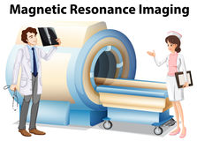 Doctor and nurse working with magnetic resonance imaging machine. Illustration Royalty Free Stock Photography