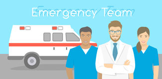Doctor and nurses ambulance personnel Stock Images