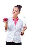 Doctor Nutritionist Woman holding health food and Royalty Free Stock Photography