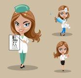 Doctor o enfermera en un vector, sistema de tres doctores de sexo femenino en diversas actitudes, ejemplo de la mujer del vector Fotografía de archivo