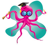 Doctor octopus. Smart octopus wearing toga holding pencil and paper Royalty Free Stock Photography