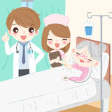 Doctor with old woman. Cartoon doctor with old woman in hospital Royalty Free Stock Photos
