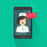 Doctor online on cellphone vector illustration, flat cartoon woman doctor answers via mobile phone on-line video. Technology, remote medical consultation via Royalty Free Stock Image