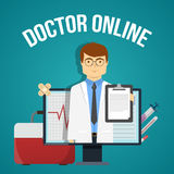 Doctor Online Design. With friendly practitioner in computer and medical objects on blue background vector illustration Stock Photo