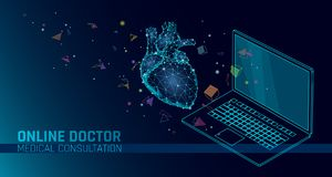 Doctor online medical app mobile applications. Digital healthcare medicine diagnosis concept banner. Human heart laptop. Low poly geometric innovation royalty free illustration