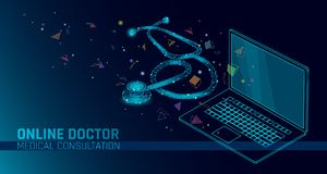 Doctor online medical app mobile applications. Digital healthcare medicine diagnosis concept banner. Human stethoscope. Checking laptop low poly geometric stock illustration