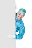 Doctor In Operation Gown Holding Blank Placard. On White Background Royalty Free Stock Image