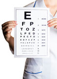 Doctor ophthalmologist with alphabet Royalty Free Stock Images