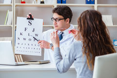 The doctor optician with letter chart conducting an eye test check Stock Image