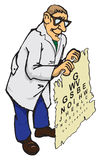 Doctor optometrist. The doctor optometrist holding the check table. Cartoon Royalty Free Stock Photos