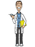 Doctor optometrist. Dr. therapist on a white background in a white coat with a syringe a stethoscope and a folder Stock Photos