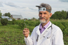 Doctor otolaryngologist in rural areas Stock Photography