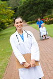 Doctor outdoors Stock Images