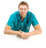 Doctor over the board Stock Photo