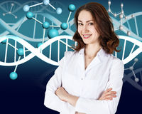 Doctor over dna molecule background Royalty Free Stock Photography