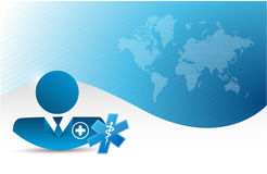 Doctor over a world map background. Stock Photo