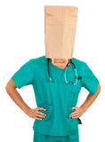 Doctor with paper bag on head Stock Photography