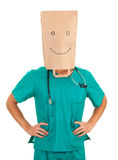 Doctor with paper bag on head Stock Photos