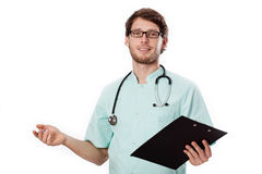 Doctor with paper and a pen Stock Photos