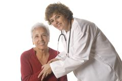 Doctor and patient. Doctor greeting her patient isolated on white Royalty Free Stock Photo
