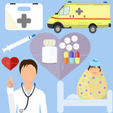 Doctor with patient-child. Doctor with patient-child, health items in flat style Stock Photo