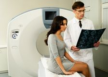 Doctor with patient at the computed tomography Royalty Free Stock Photography