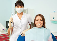 Doctor and patient at dentist's office Stock Photos