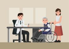 Doctor and patient in flat style. Practitioner doctor man and old man patient in hospital medical office. Royalty Free Stock Images