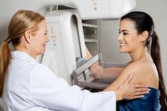 Doctor With Patient Getting Mammogram X-ray Test. Mature female doctor assisting young patient during mammogram x-ray test Royalty Free Stock Image