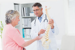 Doctor and patient having discussion over anatomical spine. Male doctor and female patient having discussion over anatomical spine in clinic stock photos