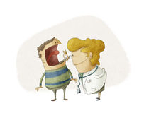 Doctor and patient. Illustration show a female doctor and patient Stock Photography