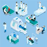 Doctor And Patient Isometric Set. Isometric set of scenes with doctor patient and medical equipment on blue background isolated vector illustration Royalty Free Stock Photography