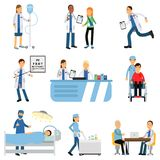 Doctor with patient, nurse with dropper, trolley with medicines, therapist s and oculist s office, operating room Stock Image