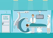 Doctor and patient at Operating room with Xray medical scan. Stock Photo