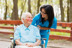 Doctor and Patient Outdoors Royalty Free Stock Image