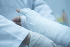 Doctor patient plaster cast Royalty Free Stock Images