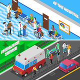 Doctor Patient Relationship 2 Isometric Banners Stock Images
