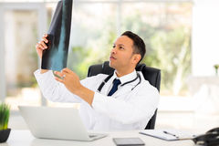 Doctor patient's x-ray. Middle aged doctor looking at patient's x-ray in office Stock Photo