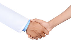 Doctor and patient shaking hand. Isolated on white background Royalty Free Stock Photos