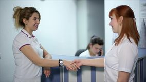 Doctor and Patient Shaking Hands.  stock footage