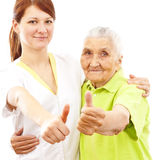 Doctor and patient showing thumbs up Royalty Free Stock Photography