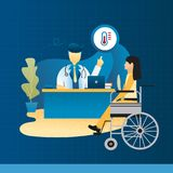 The doctor and patient wheelchair treatment banner concept blue background. Royalty Free Stock Photography