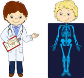 Doctor and patient whose body is shown in the X-ray Royalty Free Stock Image