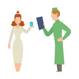 Doctor people man and woman illustration. Doctor people young female professional surgeon. Medical team practitioner at hospital looking happy. Clinic Stock Photo